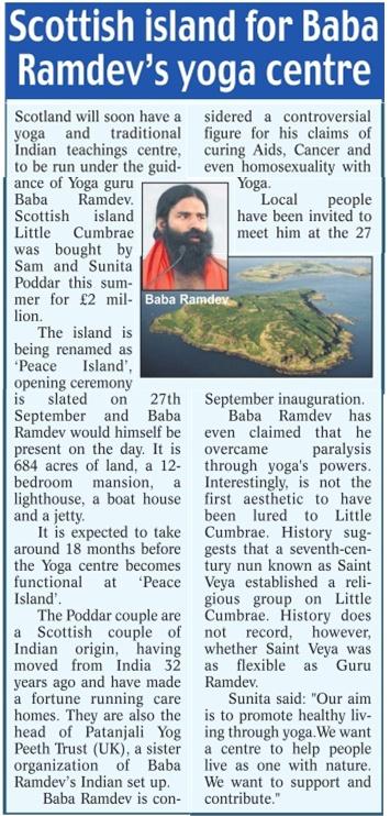 Swami Ramdev Ji Featured In UK Press